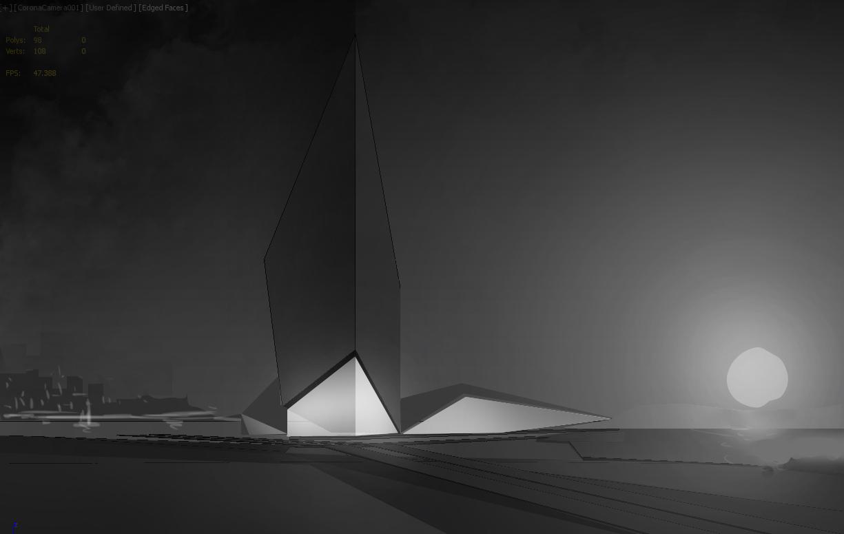Exterior Architectural Rendering Sketch: First Version