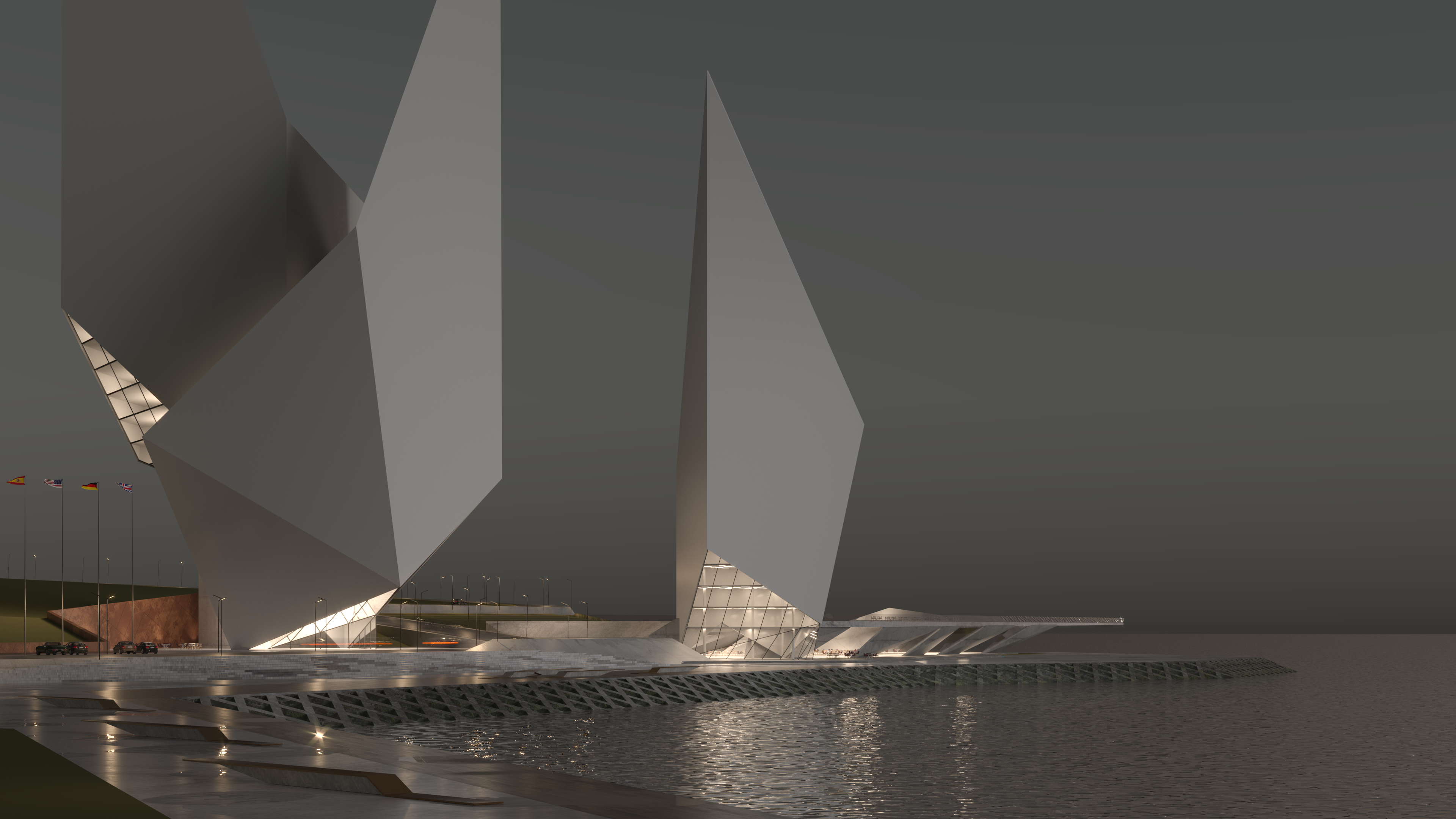 Exterior Architectural Rendering Scene with the Light Set