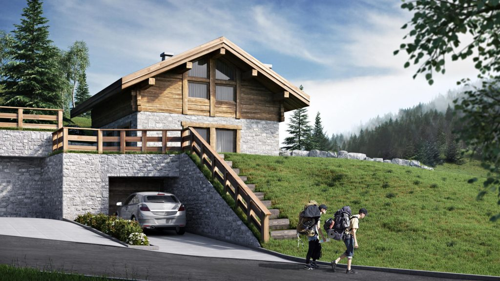 House Exterior Rendering for a Chalet: Wood Facade