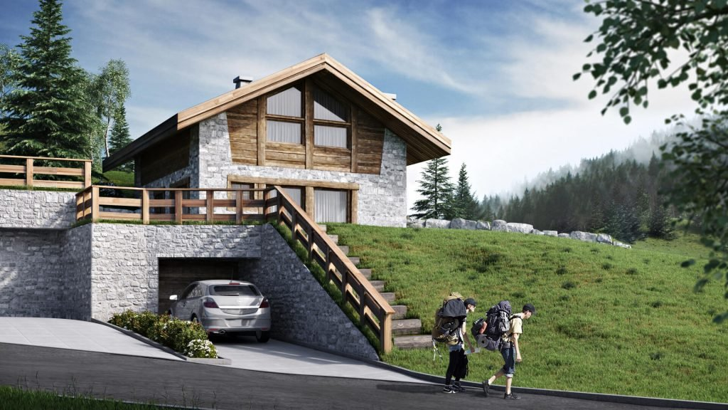 House Exterior Rendering for a Chalet with Stone and Wood Facade