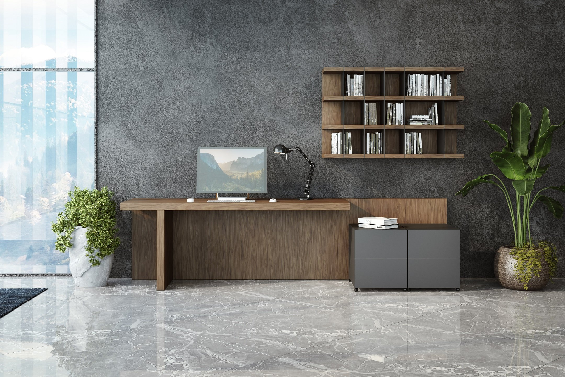 3D Visualization of Home Office with Modern Furnishings