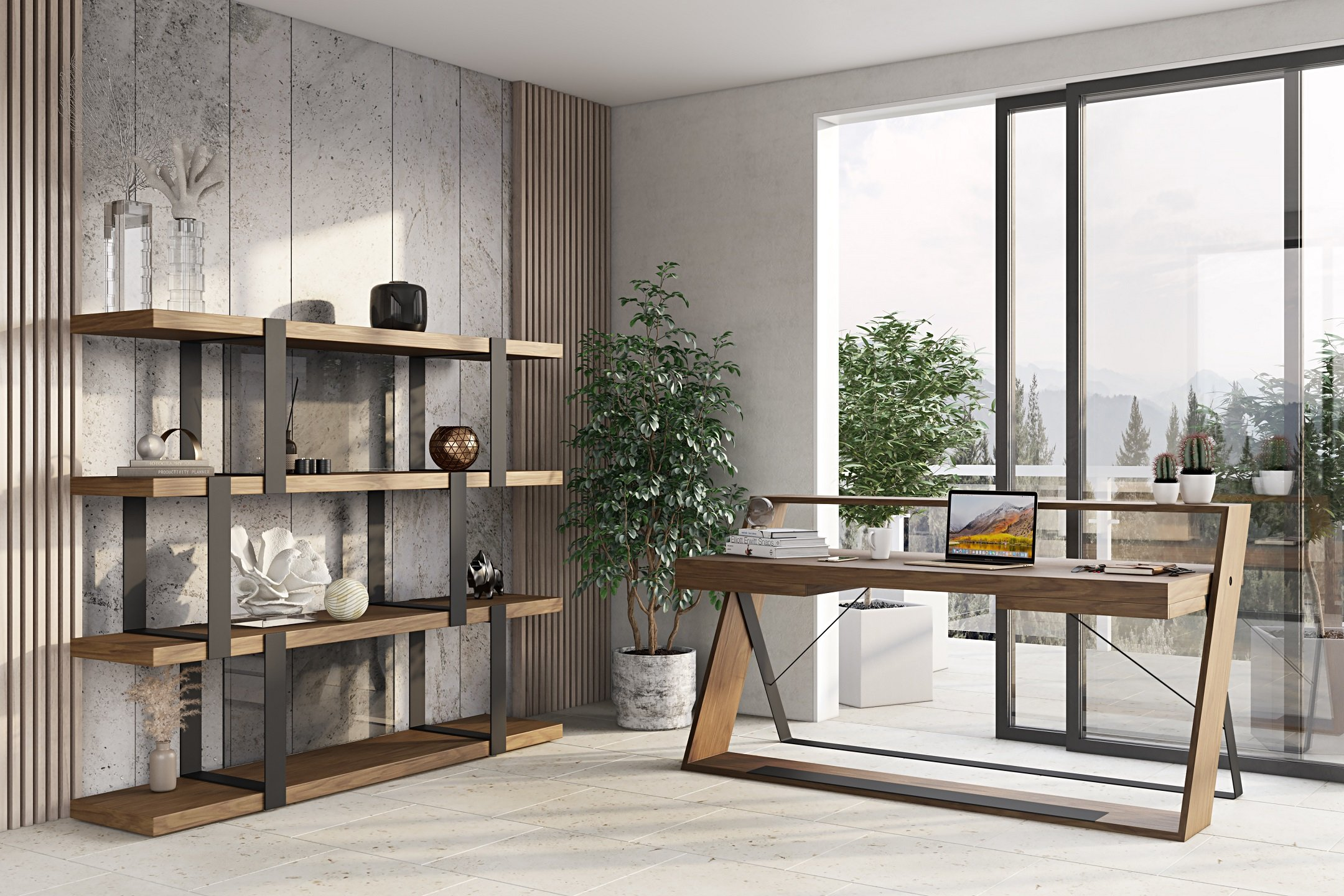 Office 3D Rendering of a Workspace in Contemporary Style