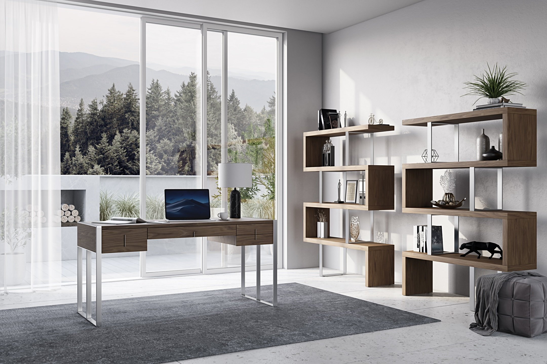 3D Visualization of Home Office with Modern Furniture
