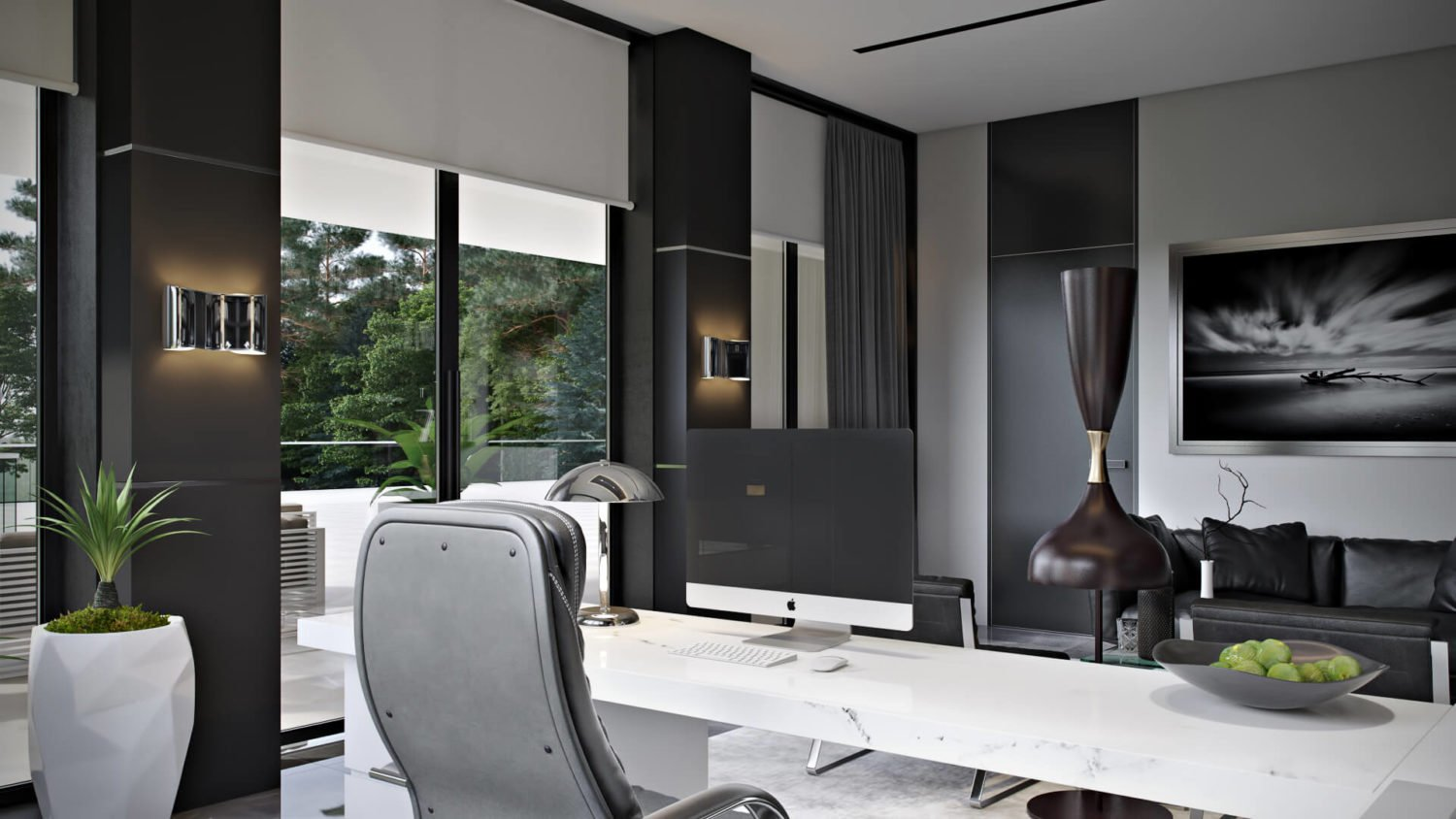 3D Visualization of a Chic Spacious Home Office