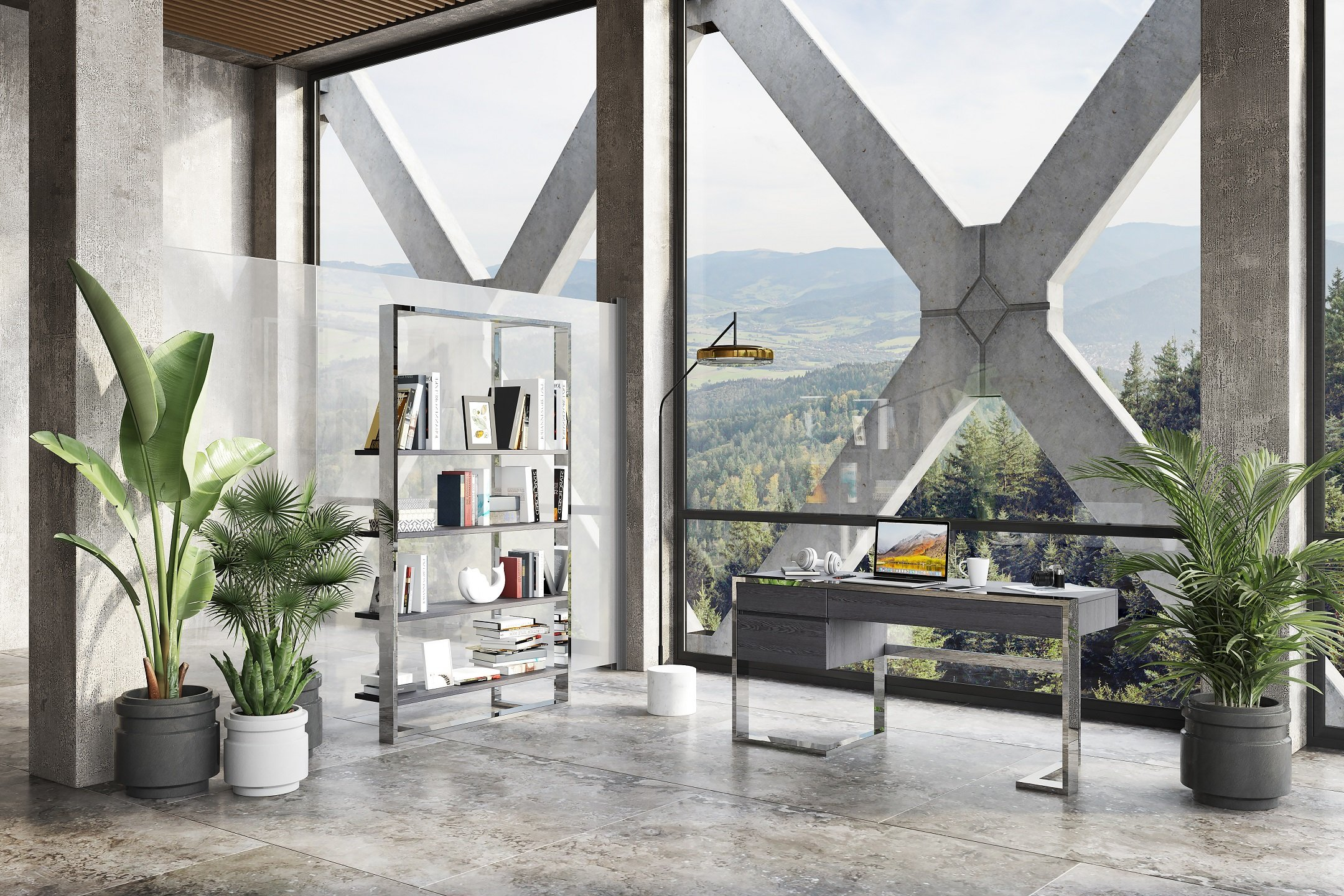 3D Visualization of a Stylish Home Office