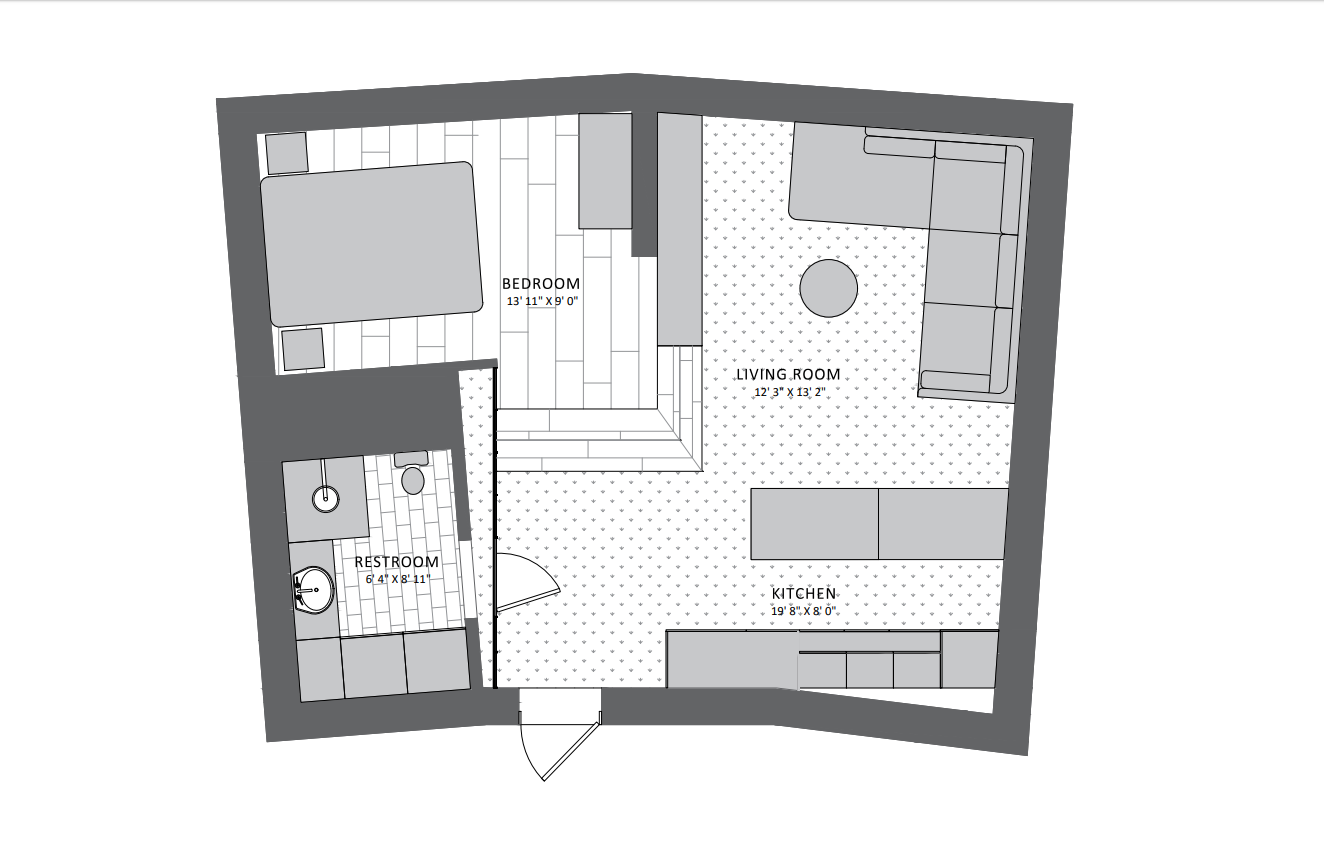Floorplan with Furniture Layout for 3D Visualization
