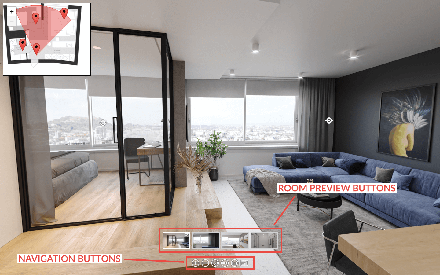 Navigation and Room Preview Buttons in Virtual Tours