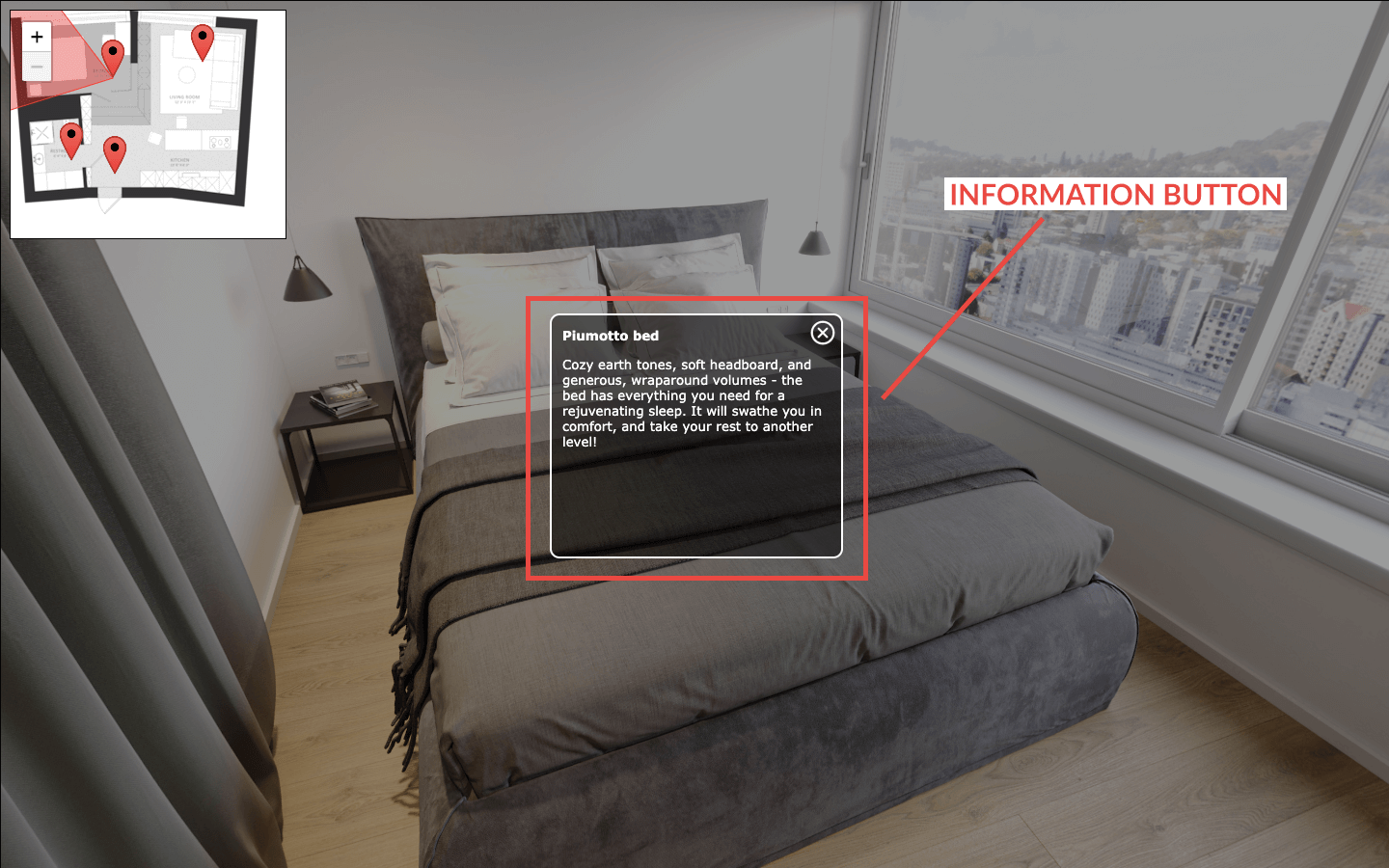 Information Button with a Description of a Bed in a 3D Tour