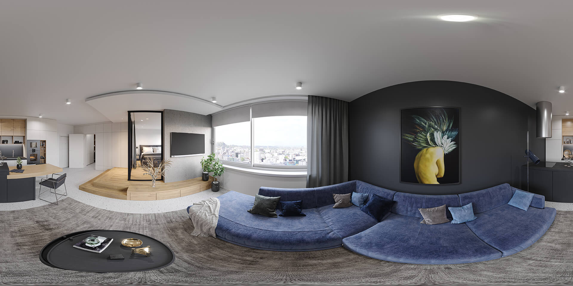 Panoramic 3D Render of an Apartment with Color Correction