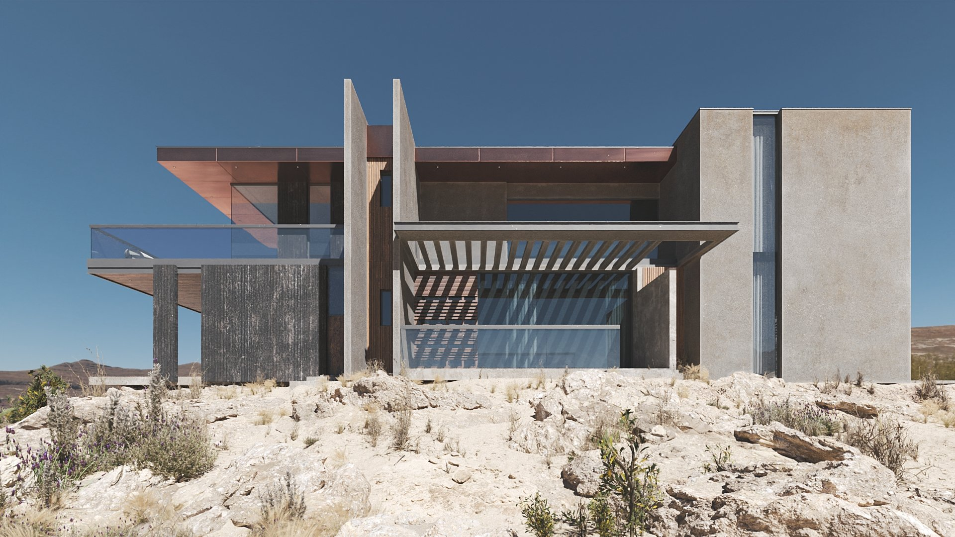 Realistic Architectural Rendering for a Villa: Details and Minor Greenery