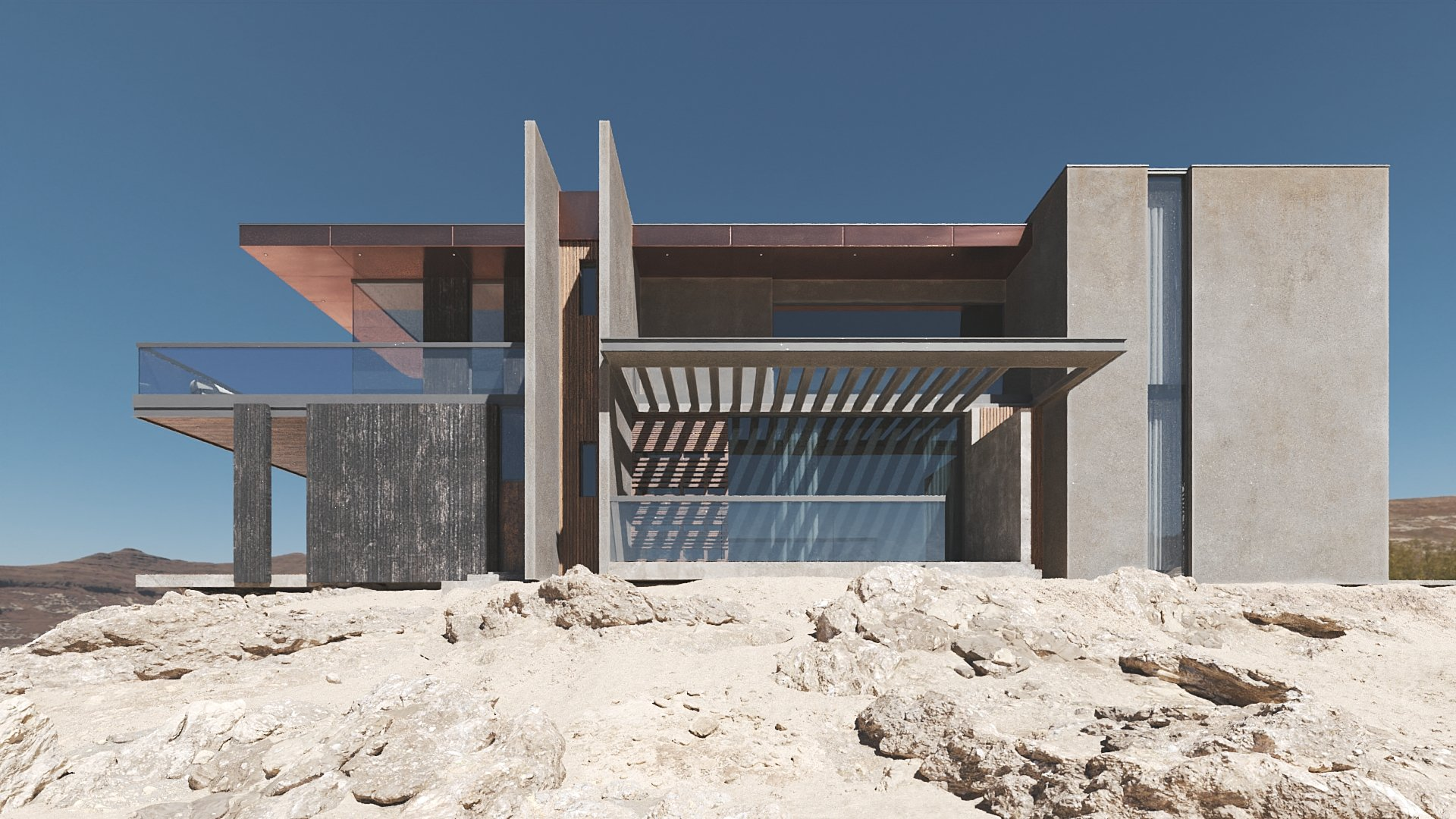 Landscape Developing for the Villa 3D Rendering
