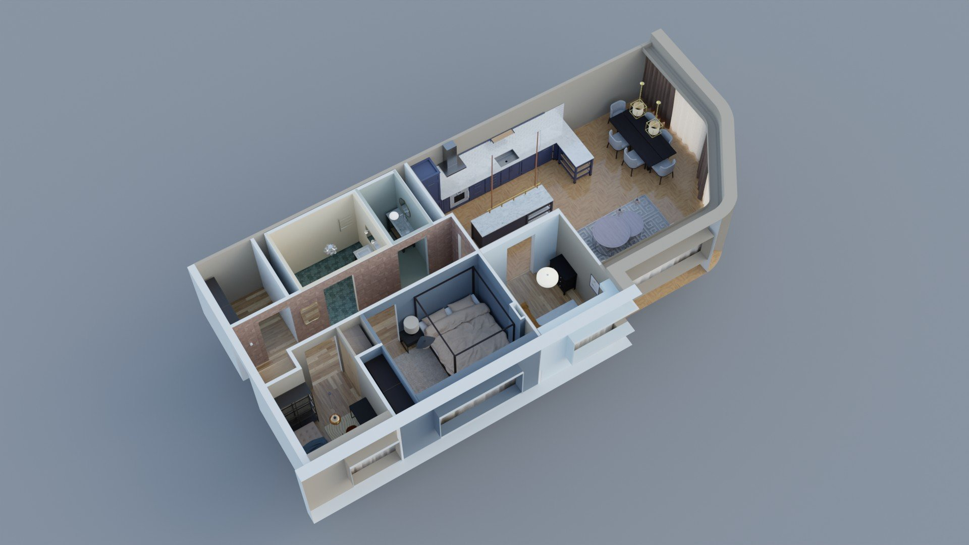 3D Floor Plan with Virtual Staging
