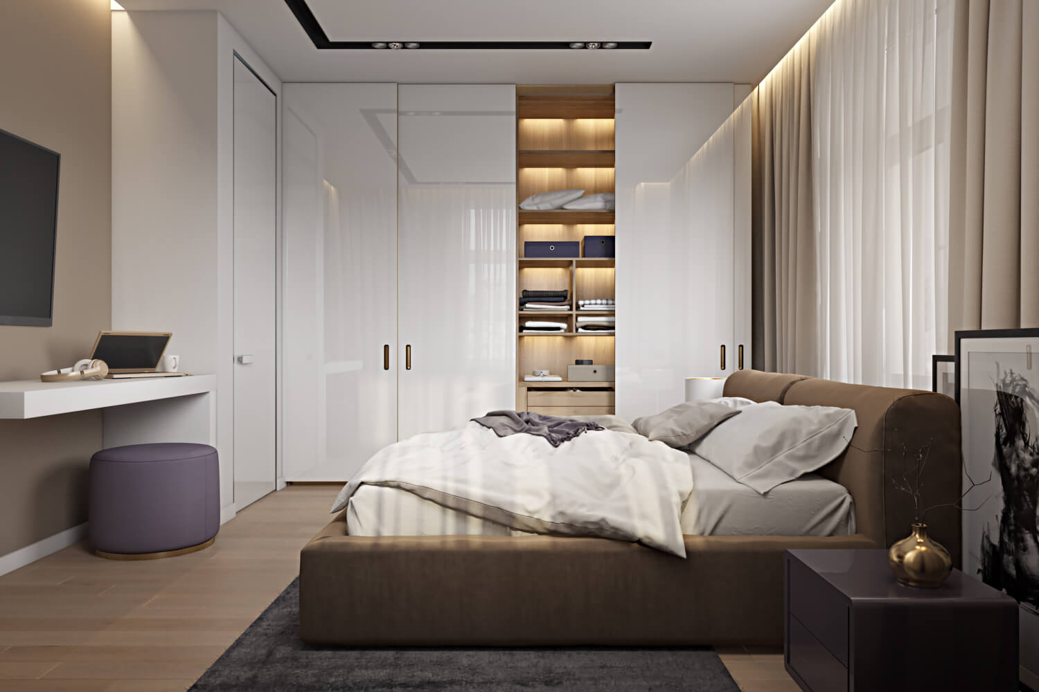 Impossible Angle 3D Render of a Bedroom