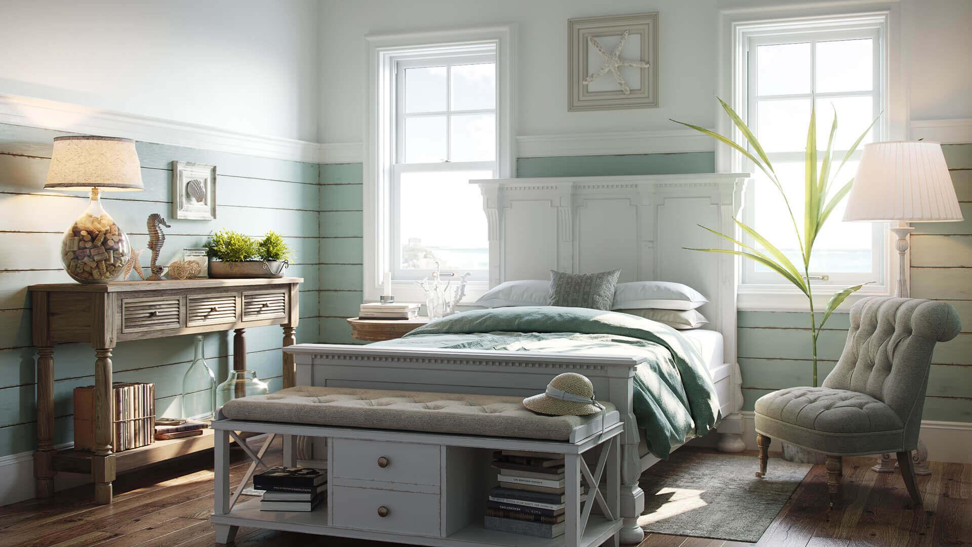 3D Visualization for a Pretty Coastal Bedroom Design