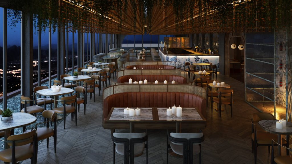A CG Image of a Restaurant before the Post-production
