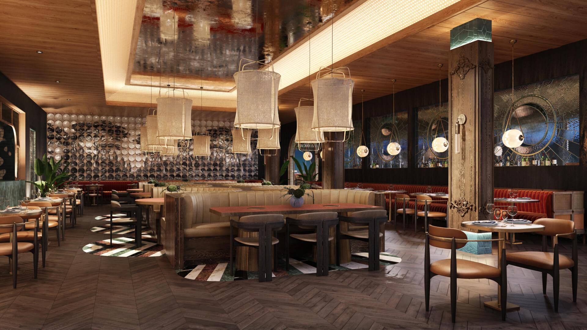 Restaurant 3D Rendering for Clay Design