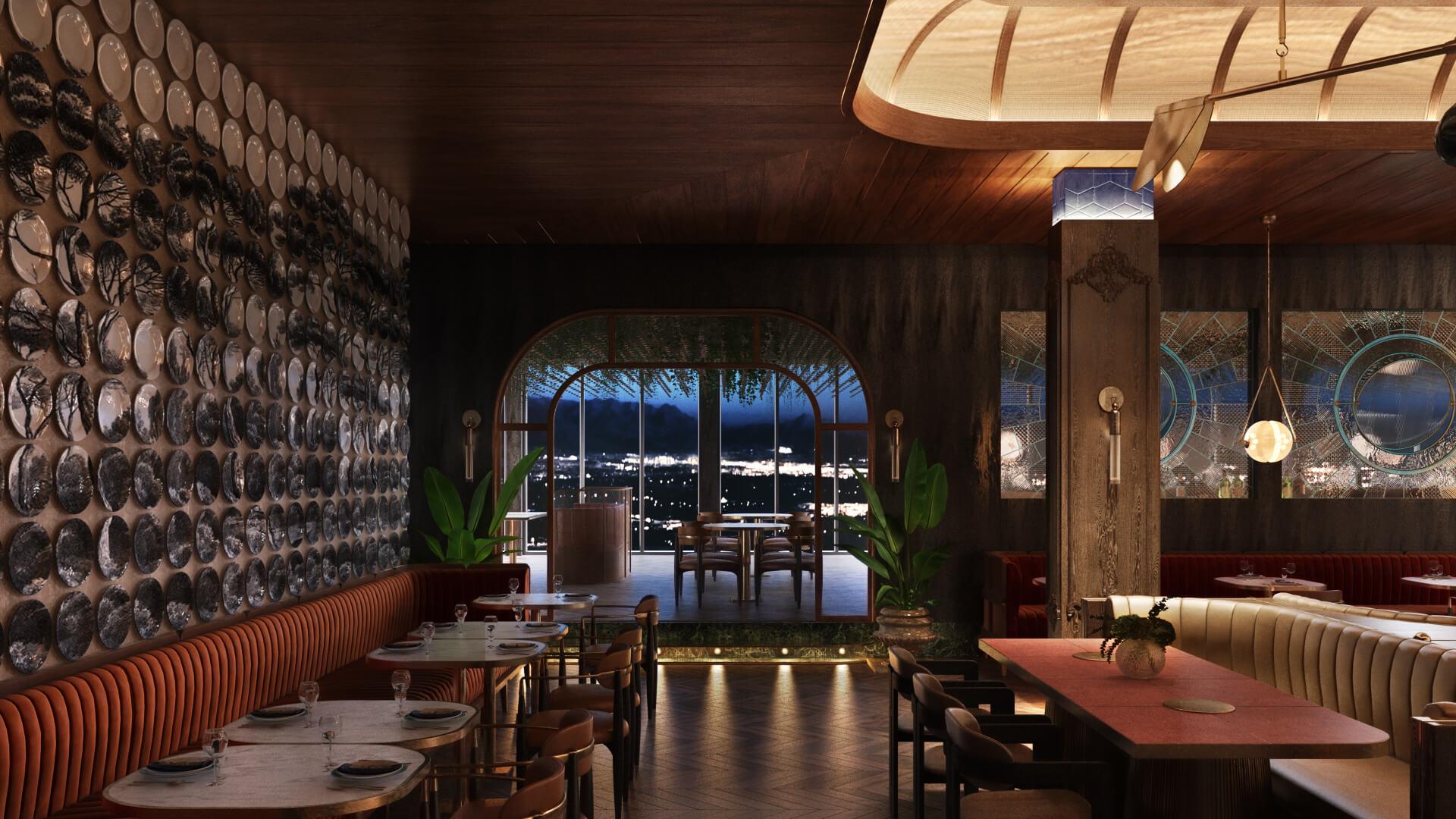 Restaurant 3D Rendering Intermediate Results