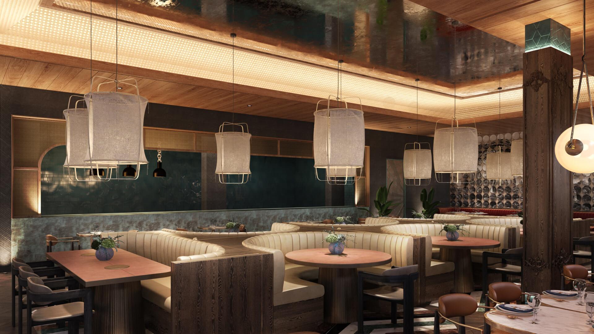 3D Image of a Restaurant Interior