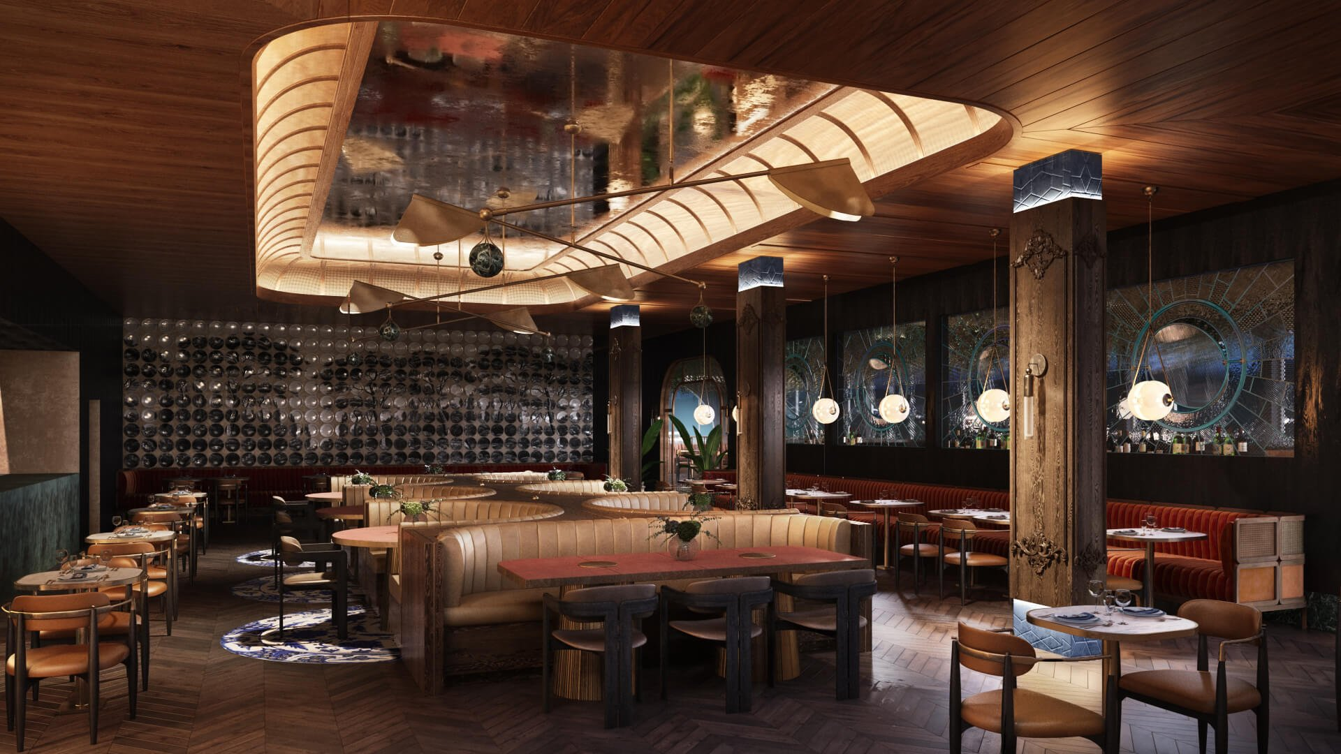 Preliminary Rendering Results of a Restaurant Hall