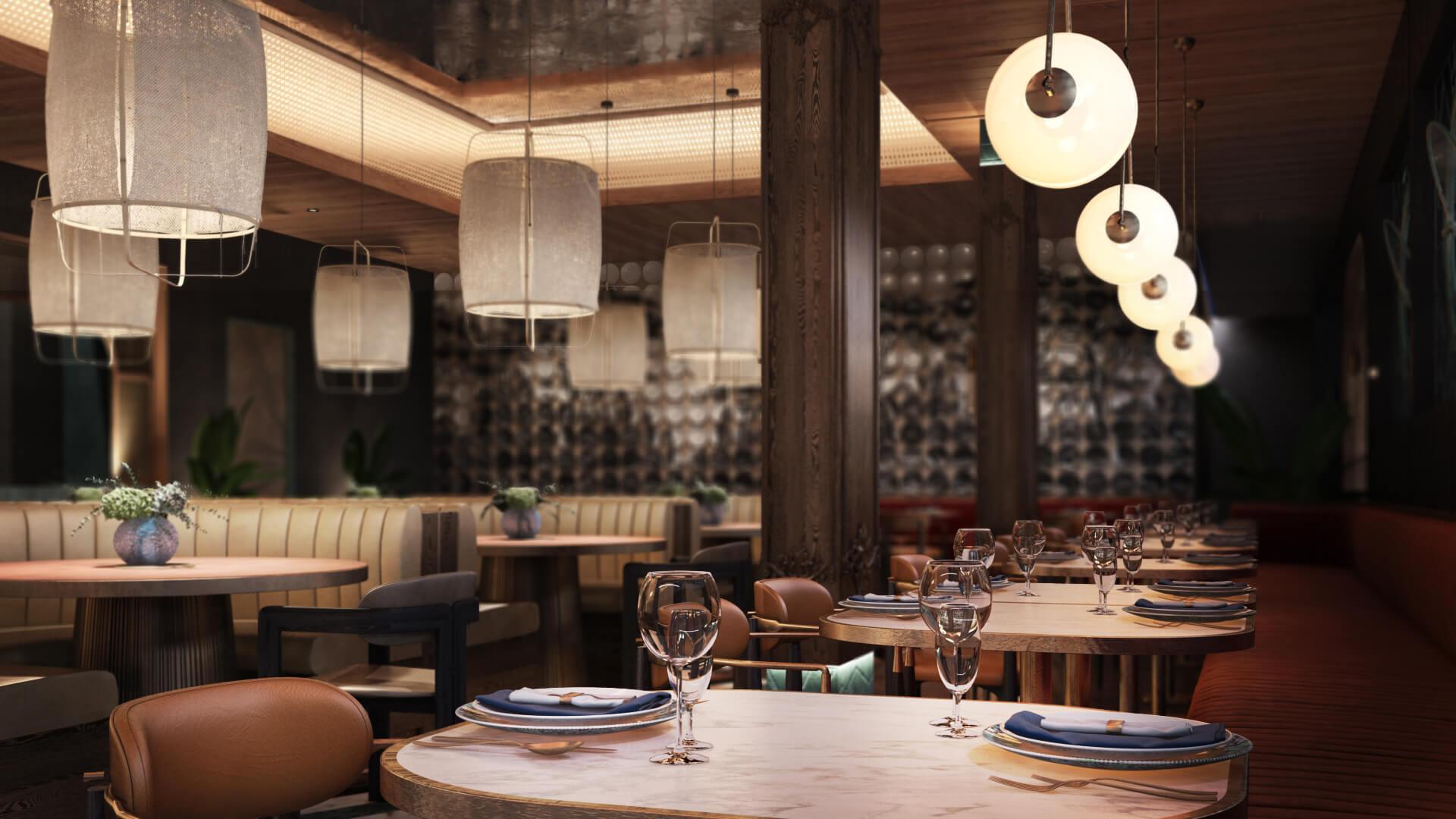 CG Render of a Restaurant Interior