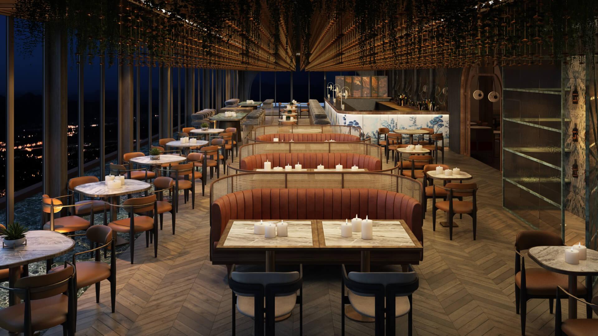 3D Render of a Restaurant Terrace