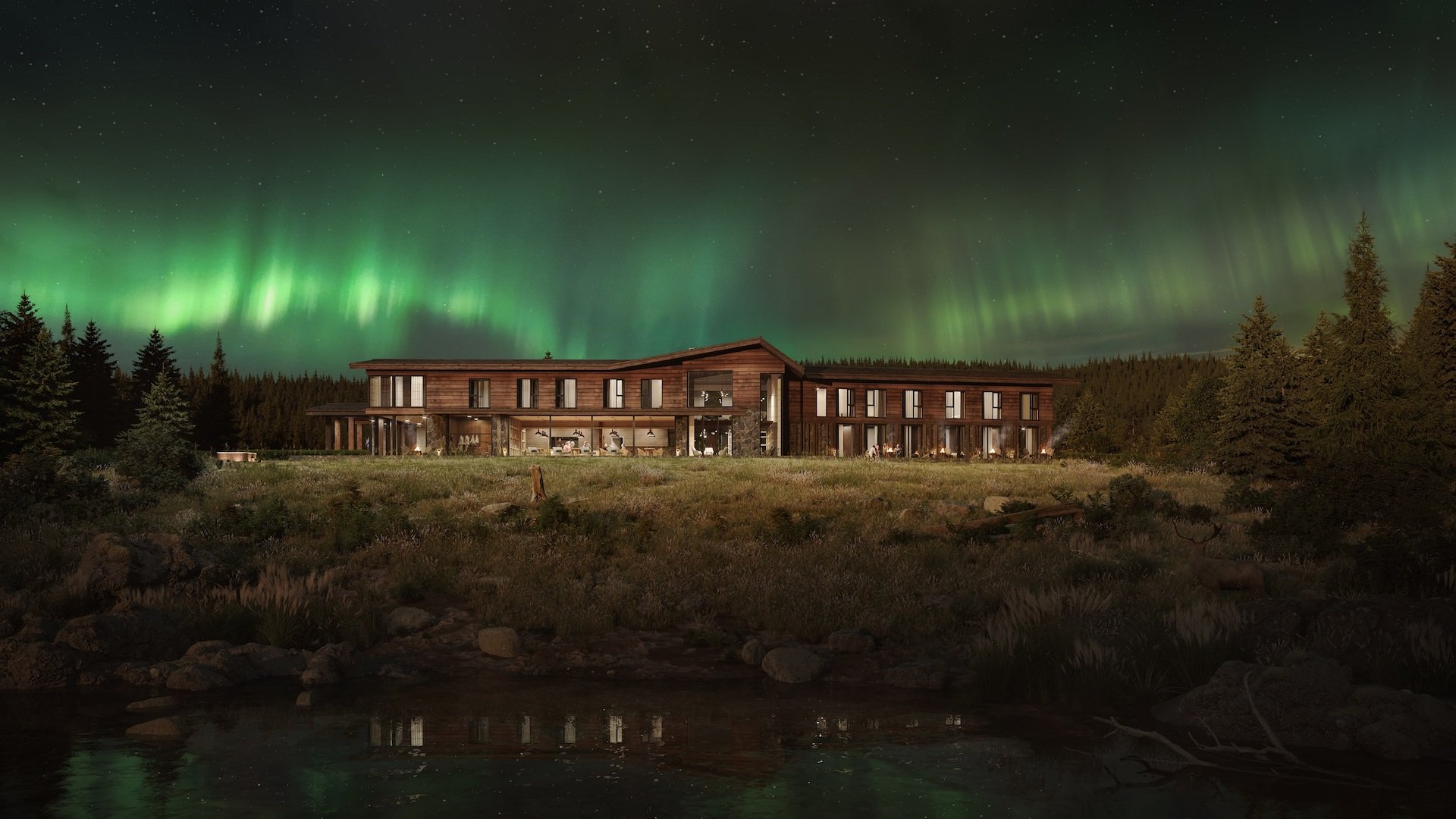 Atmospheric 3D Visualization of a Hotel at Night under the Northern Lights