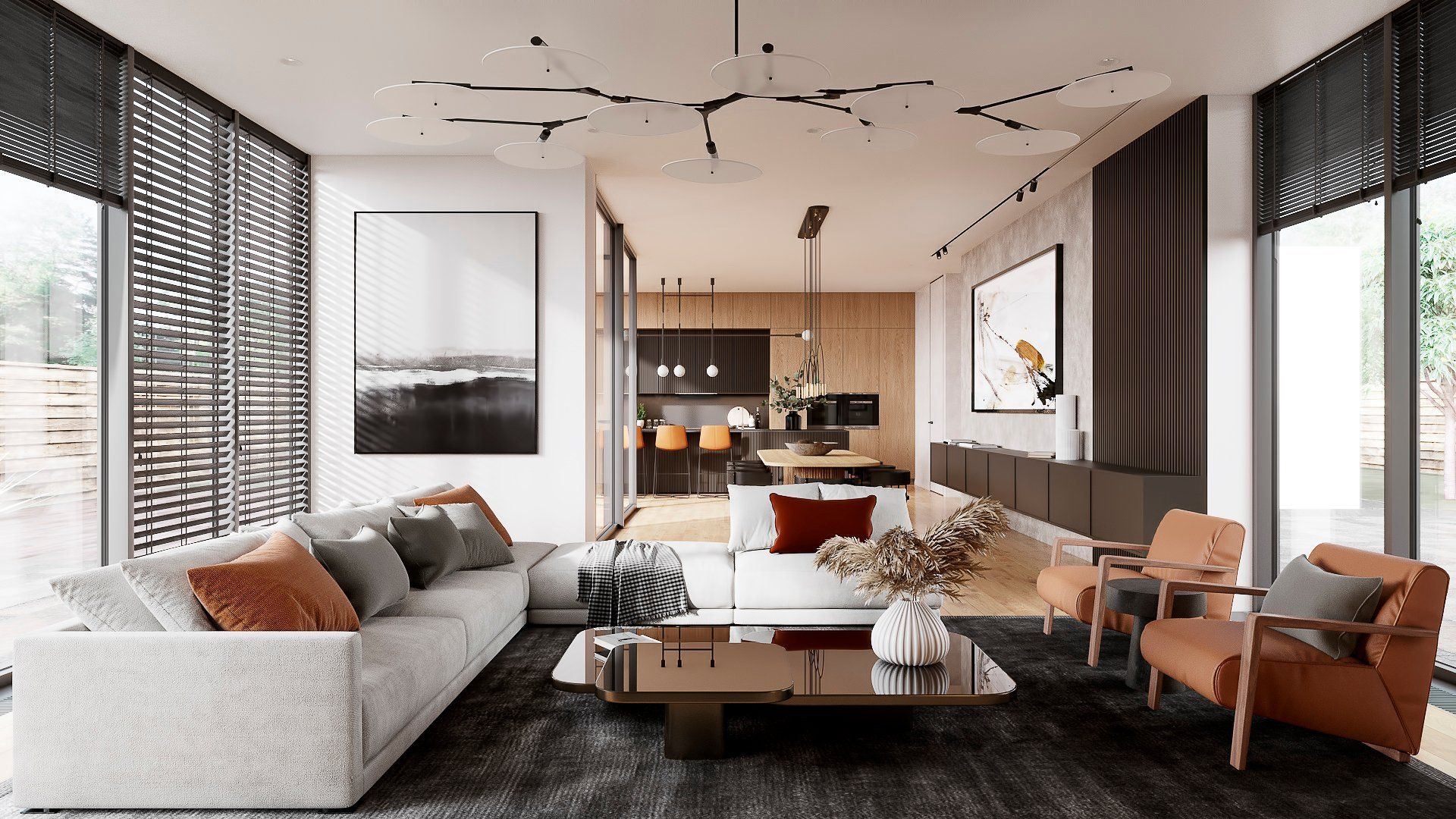 3D Render of a Chic Mid-Century Modern Living Room