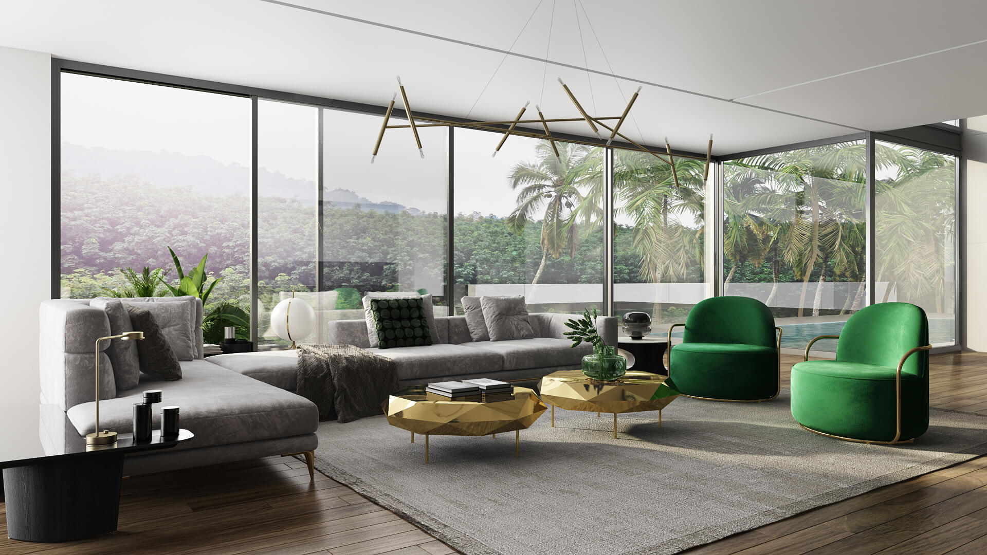 3D View of a Living Room Showing Elegant Interior Style