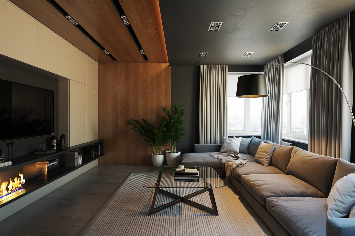 CG View of a Living Room Design Showing Lighting Solutions
