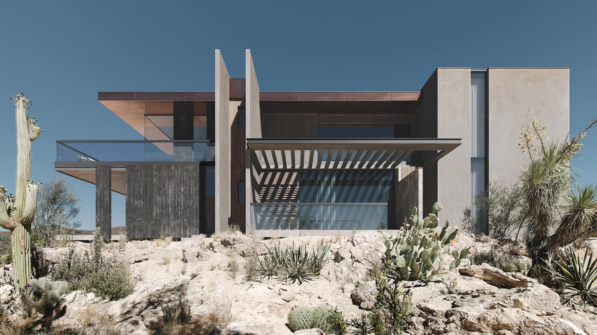 Photorealistic 3D Visualization of a Stylish Modern House