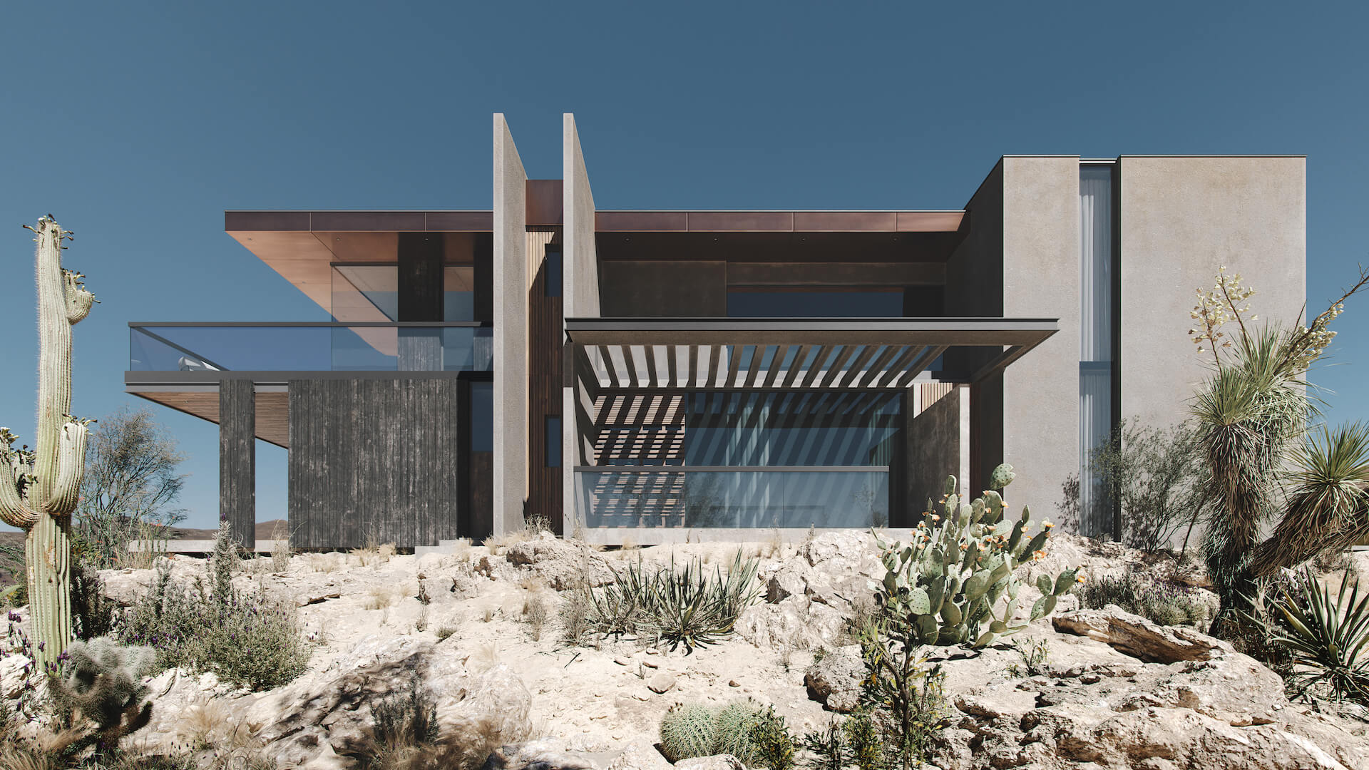 Architectural 3D Rendering of a Residence in the Desert