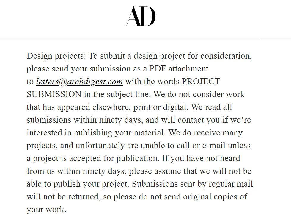 Submission Rules of an Architecture Magazine