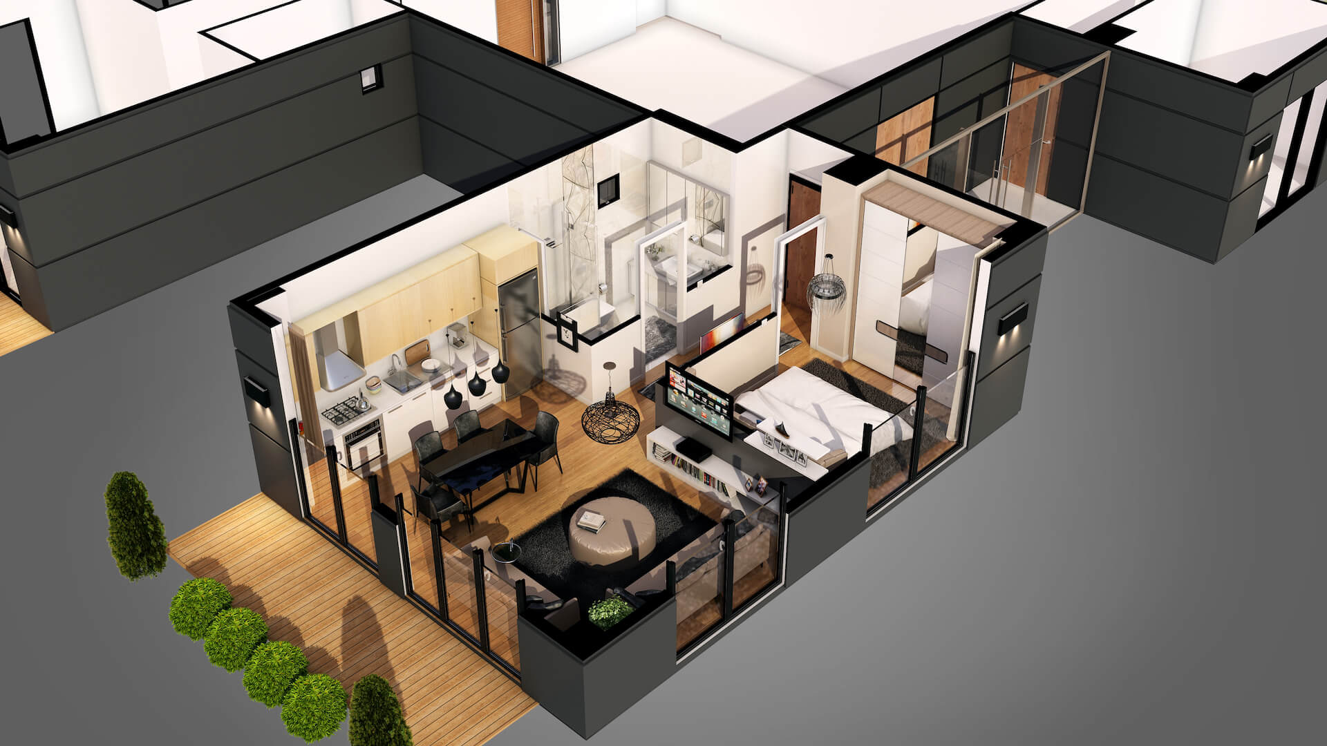 3D Floor Plan of a Compact Apartment