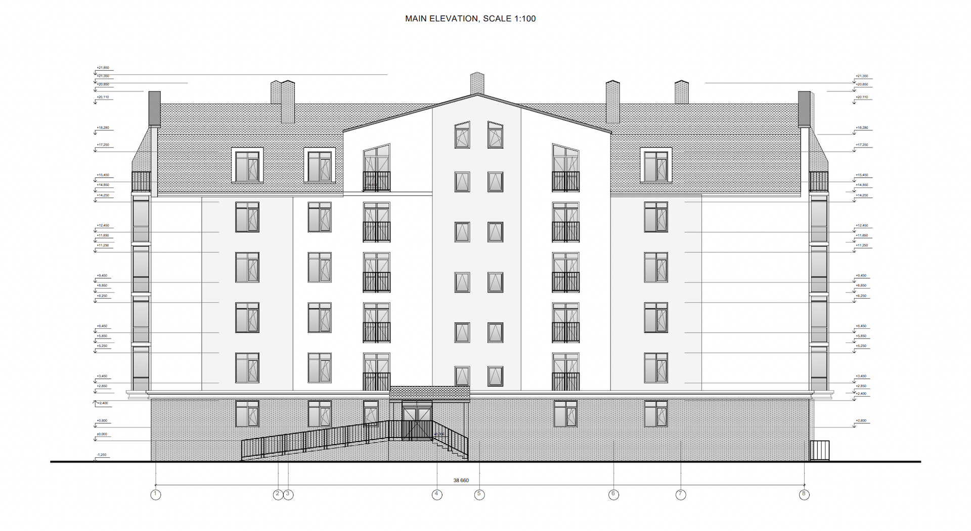 Exterior Elevation Architectural CAD Drawing