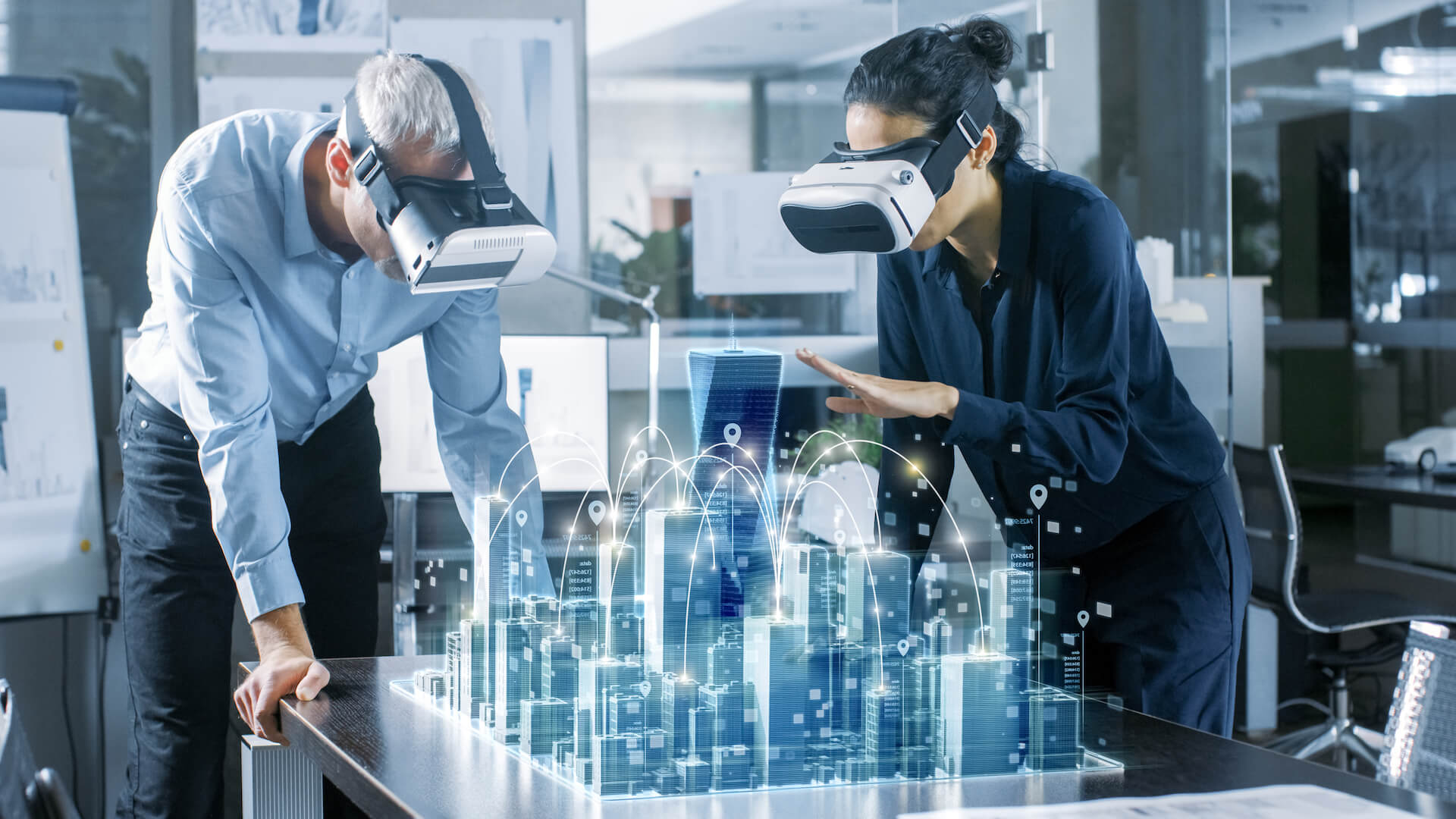 Architects Working on a Green Building 3D Model in VR
