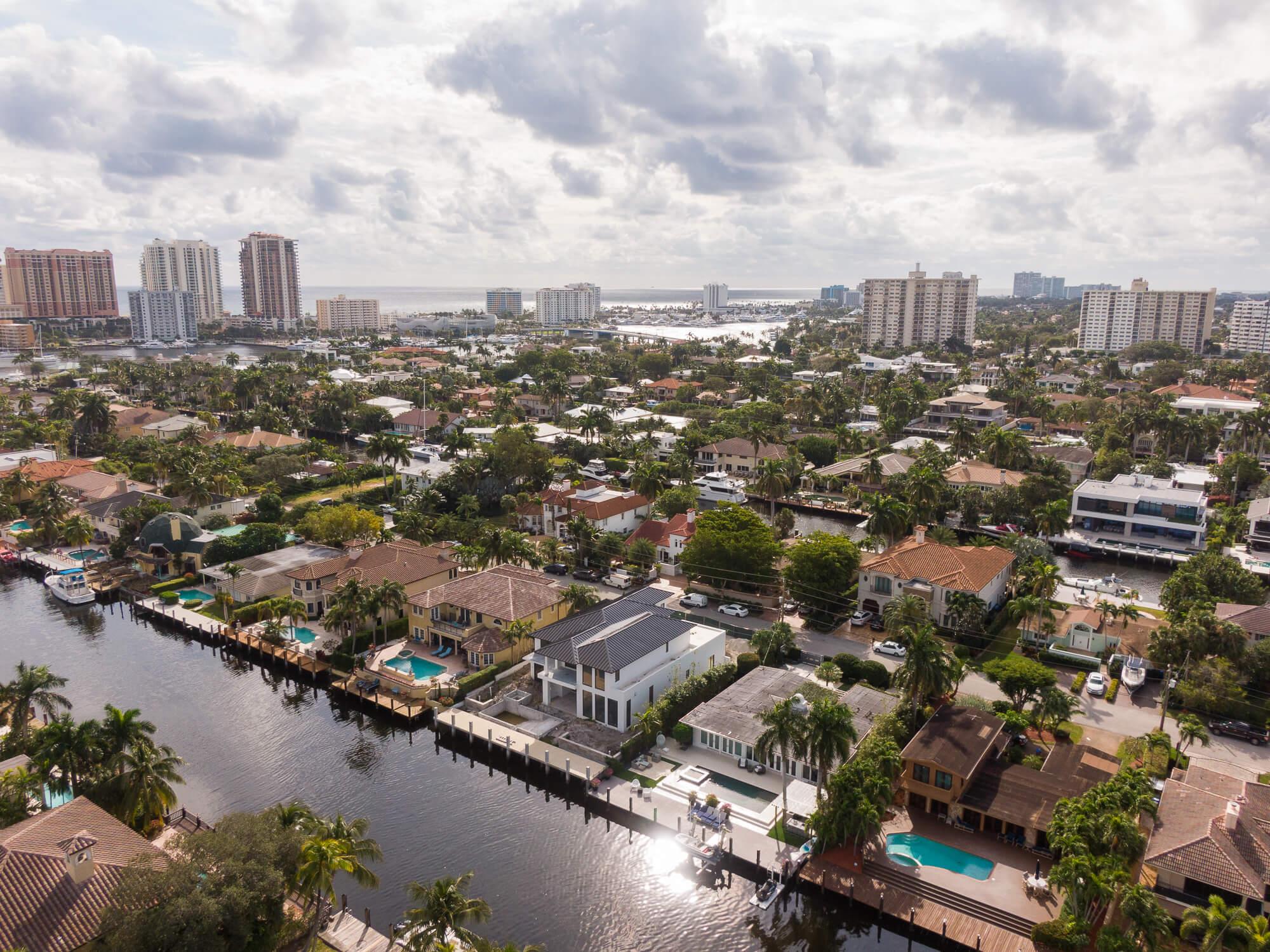 An Aerial View of an Oceanside Neighborhood