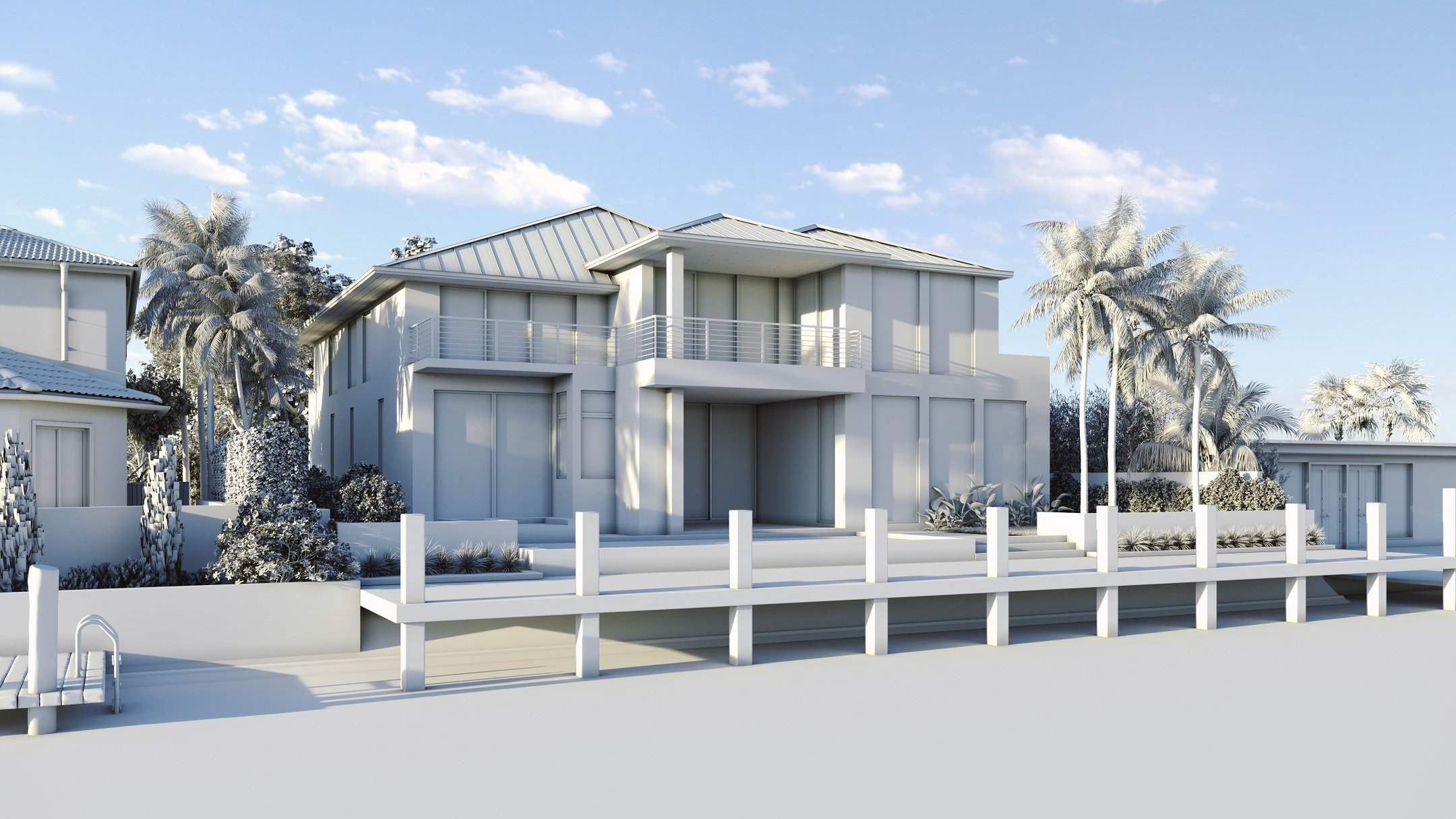 Grayscale 3D Rendering for a Real Estate Property