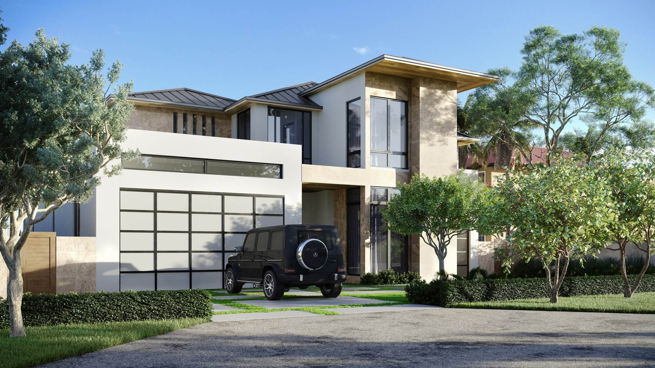 A 3D Render of a House Front