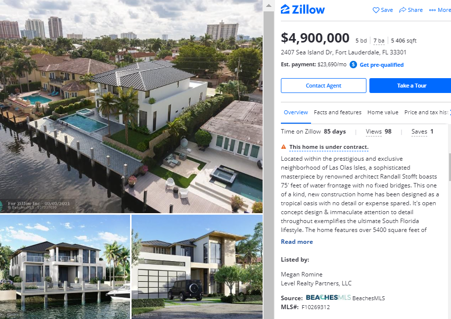 A Real Estate Listing on a Realty Platform