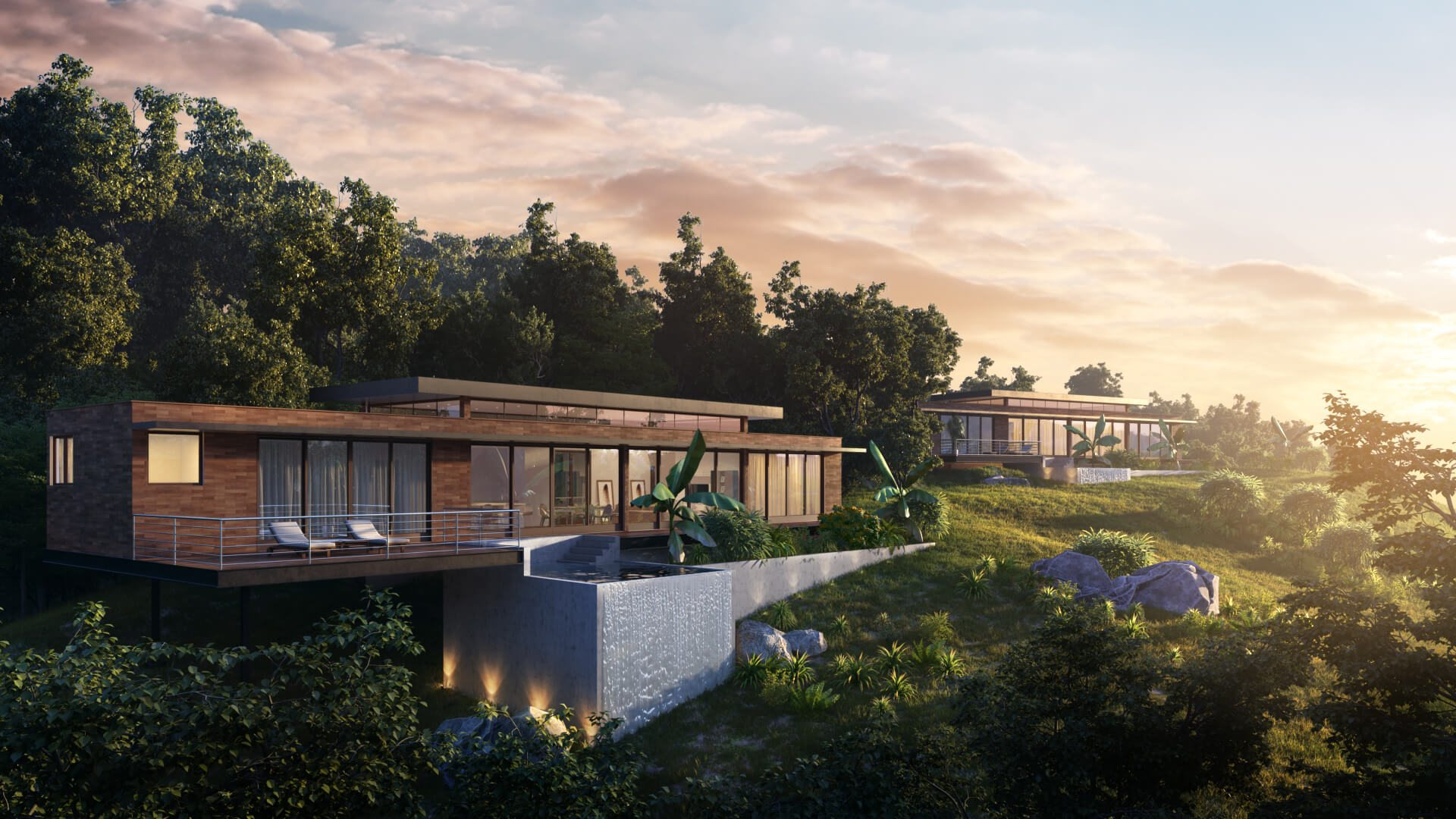 Aerial 3D Rendering of a Tropical Resort Hotel