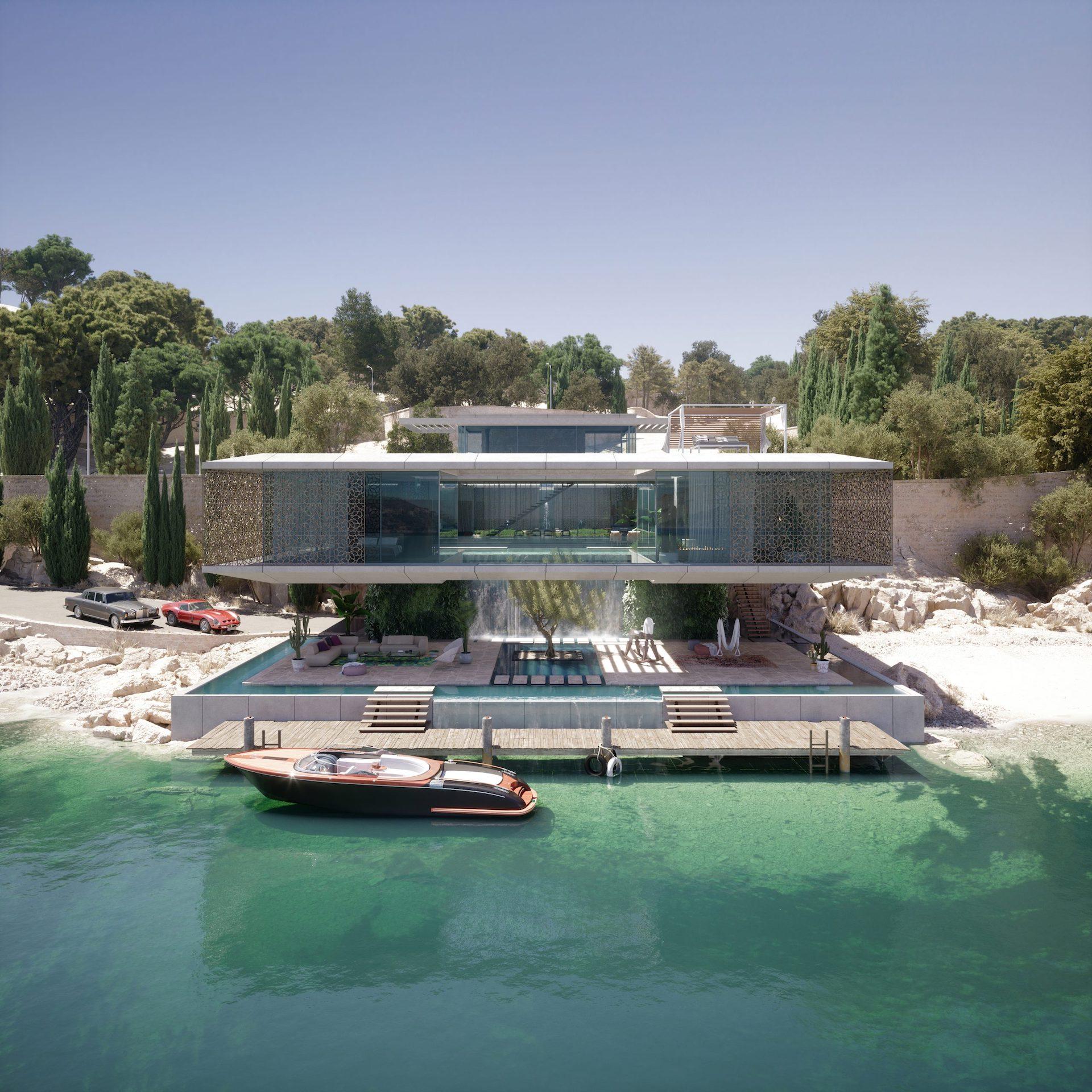 Aerial CGI of a Luxury Seaside Villa