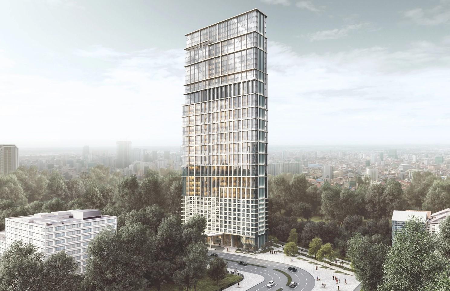 Bird's-Eye 3D View of a High-Rise Business Center