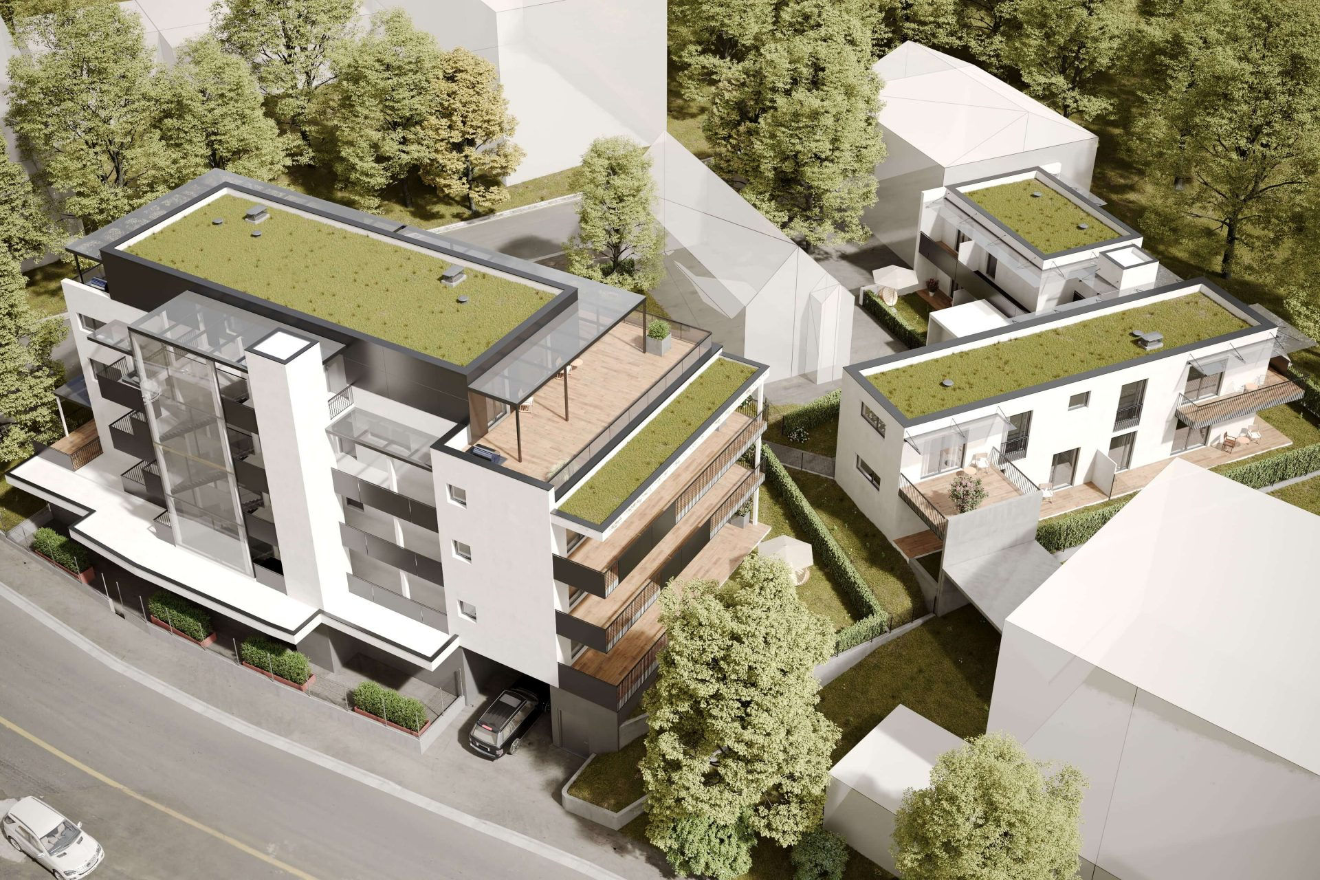 Aerial 3D Render of a Residential Complex Showing Rooftop Gardens