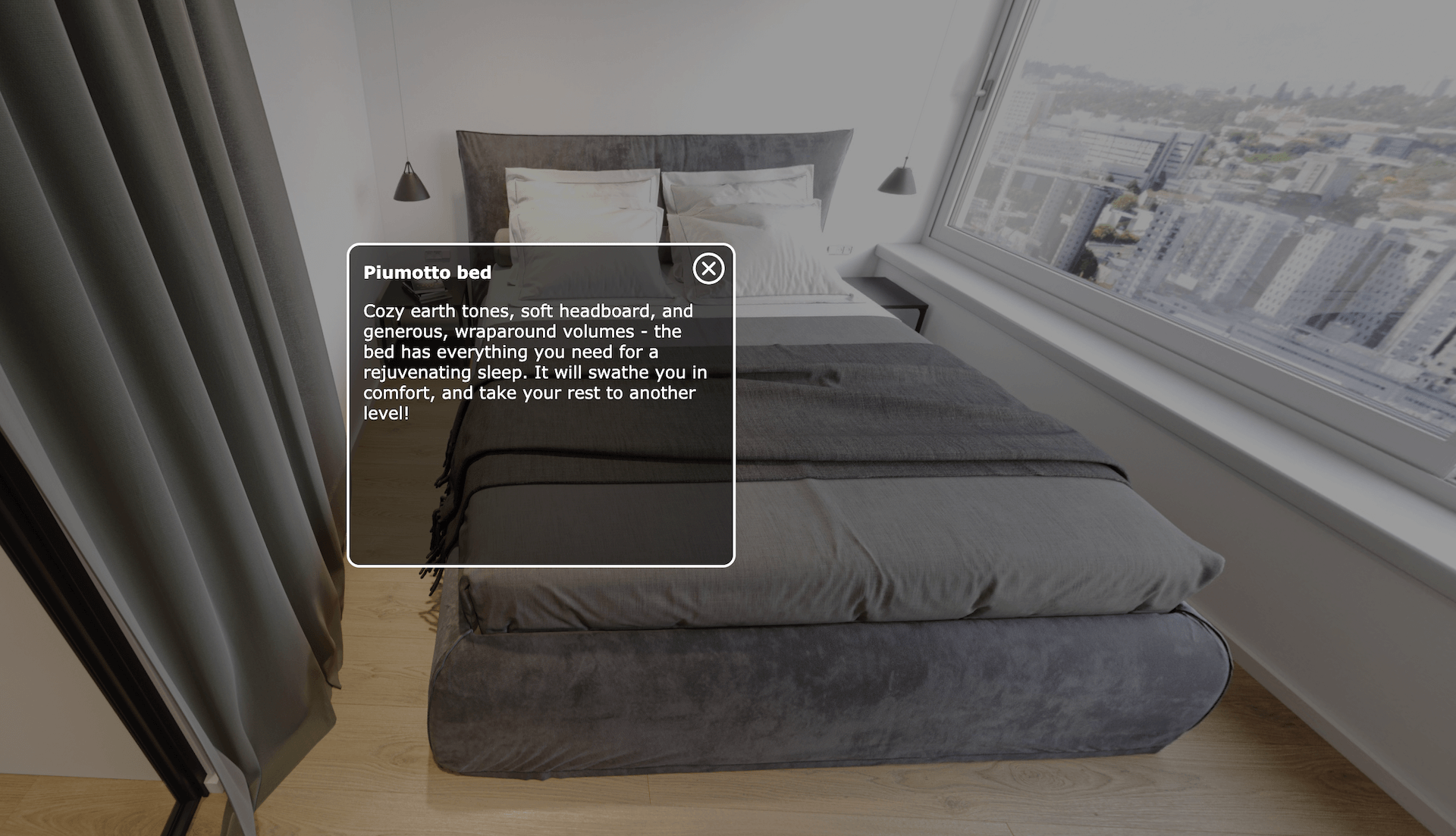 Virtual Apartment Tour with Information Buttons